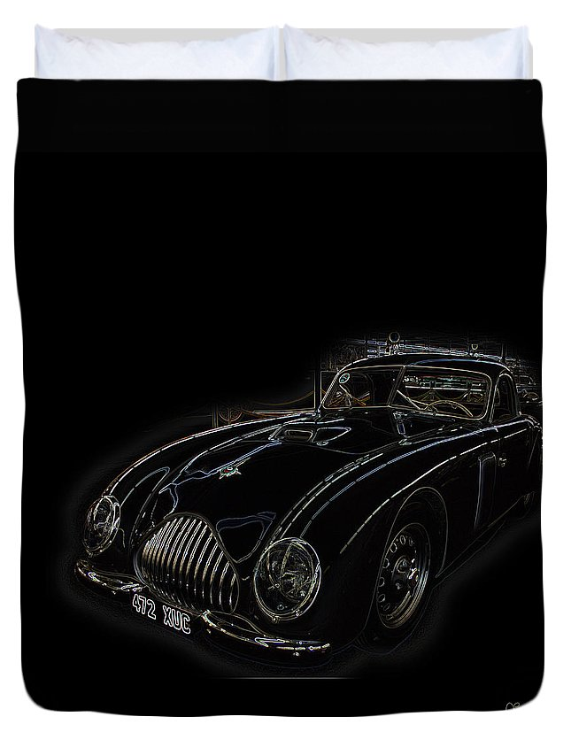 Classic Car Antique Show Room Vehicle Glowing Edge Black Light Chevy Dodge Ford Ride Duvet Cover featuring the photograph Classic 2 by Andrea Lawrence