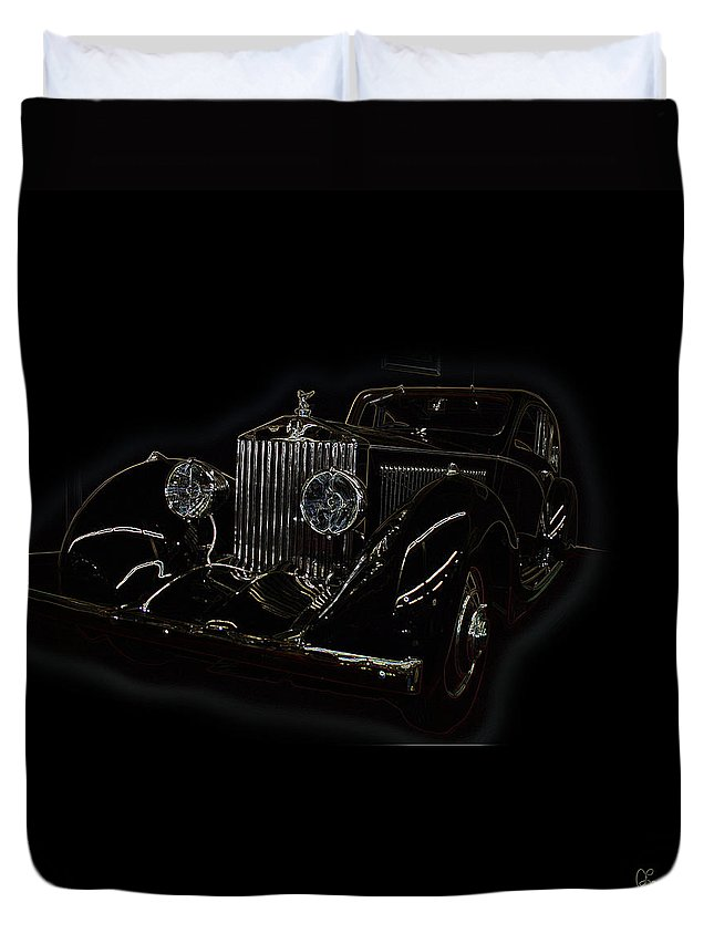 Classic Car Antique Show Room Vehicle Glowing Edge Black Light Chevy Dodge Ford Ride Duvet Cover featuring the photograph Classic 3 by Andrea Lawrence