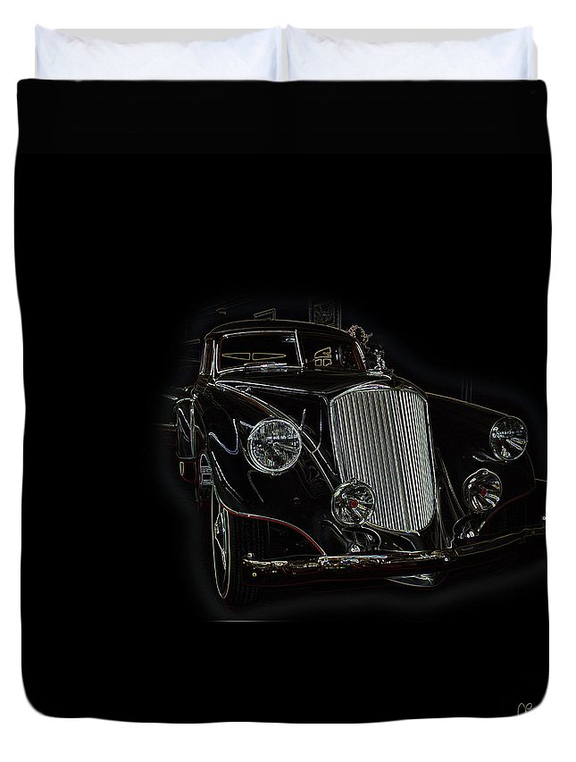 Classic Car Antique Show Room Vehicle Glowing Edge Black Light Chevy Dodge Ford Ride Duvet Cover featuring the photograph Classic 4 by Andrea Lawrence