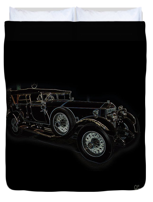 Classic Car Antique Show Room Vehicle Glowing Edge Black Light Chevy Dodge Ford Ride Duvet Cover featuring the photograph Classic 5 by Andrea Lawrence