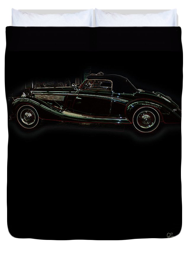 Classic Car Antique Show Room Vehicle Glowing Edge Black Light Chevy Dodge Ford Ride Duvet Cover featuring the photograph Classic 6 by Andrea Lawrence