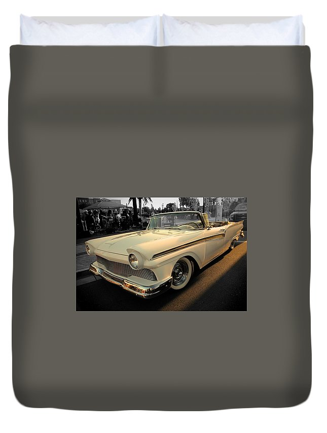 White Duvet Cover featuring the photograph Classic Car Cheve by Jesse Sanchez