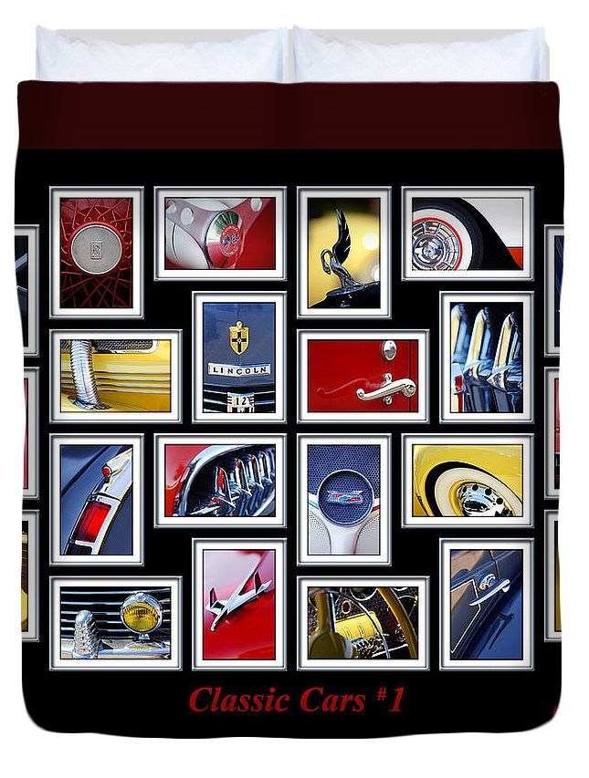 Classic Cars Duvet Cover featuring the photograph Classic Car Montage Art 1 by Jill Reger