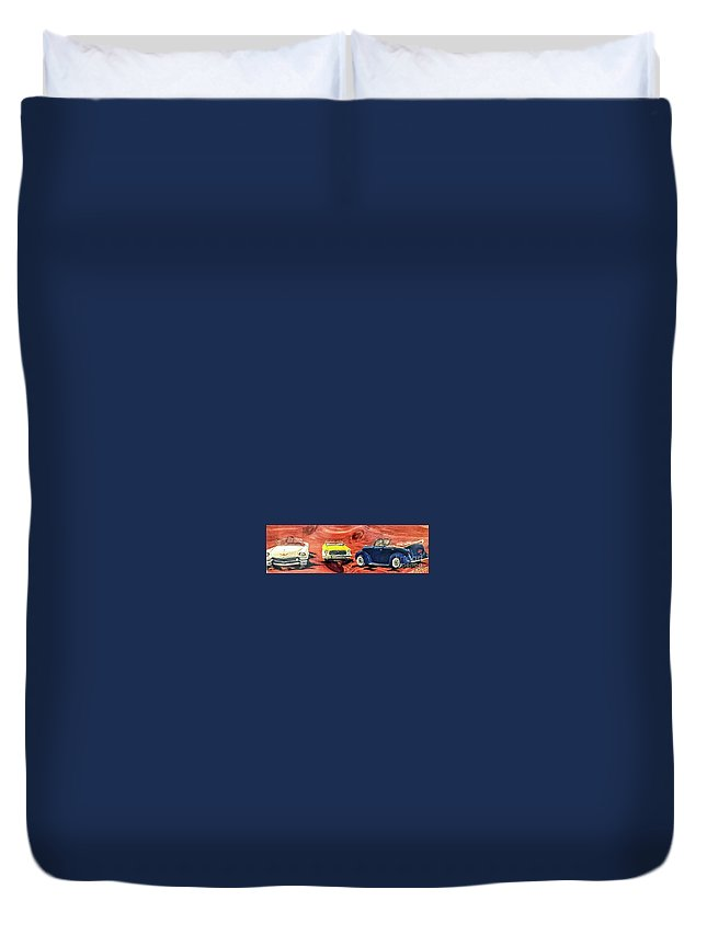 Classic Cars Duvet Cover featuring the painting Classic Cars by Deborah Williams