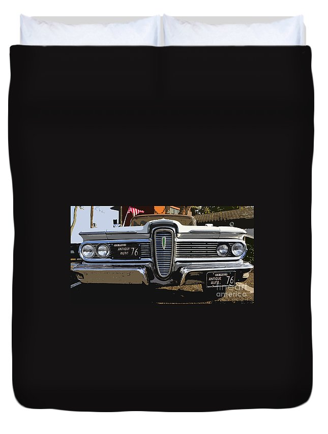 Edsel Duvet Cover featuring the painting Classic Edsel by David Lee Thompson