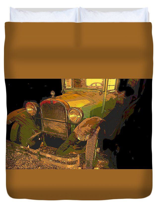 Automobile Duvet Cover featuring the digital art Classic Lines by Jim Thomas