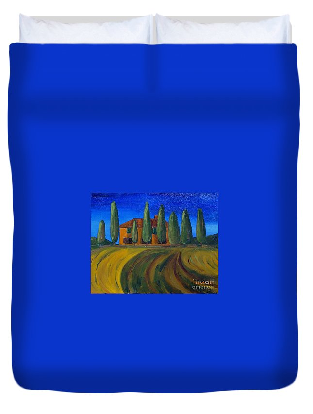 Tuscany Duvet Cover featuring the painting Classic Tuscan Sunset by Laurie Morgan