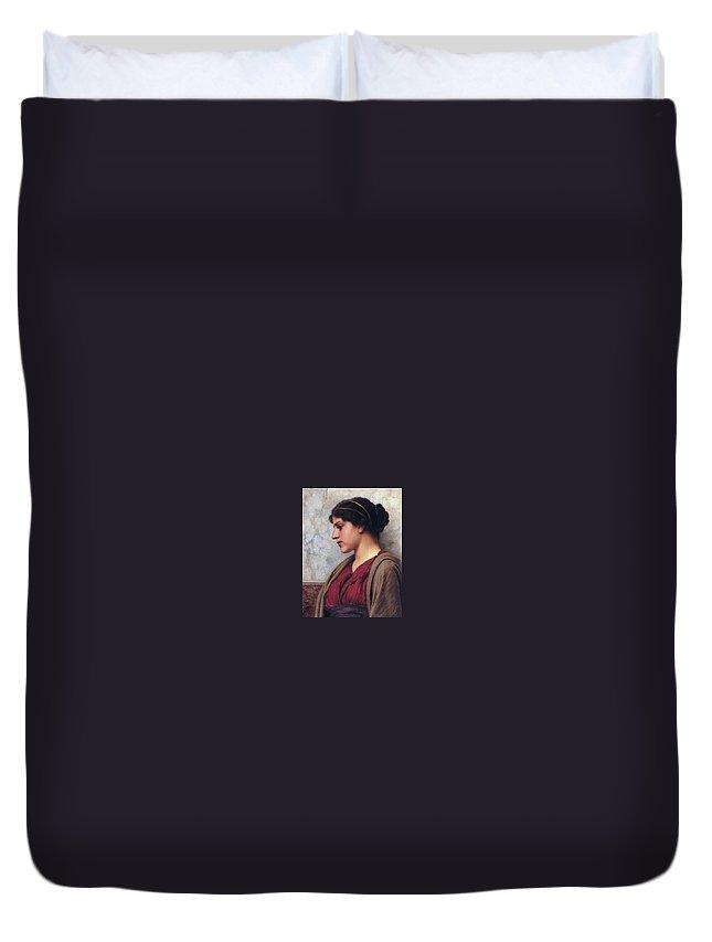 Person Duvet Cover featuring the digital art Classical Beauty John William Godward by Eloisa Mannion