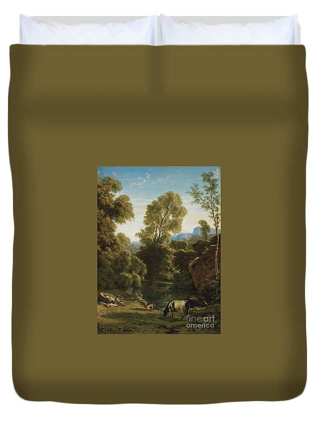 Paul-jean Flandrin ; Classical Landscape With Figures By A Lake Duvet Cover featuring the painting Classical Landscape With Figures By A Lake by Celestial Images