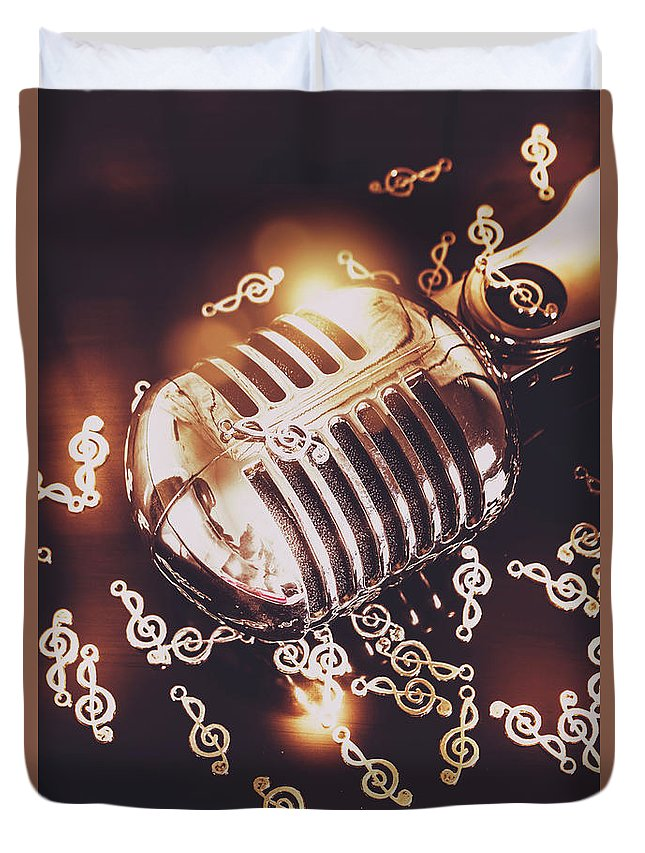 Microphone Duvet Cover featuring the photograph Classics At The Audio Hall by Jorgo Photography - Wall Art Gallery