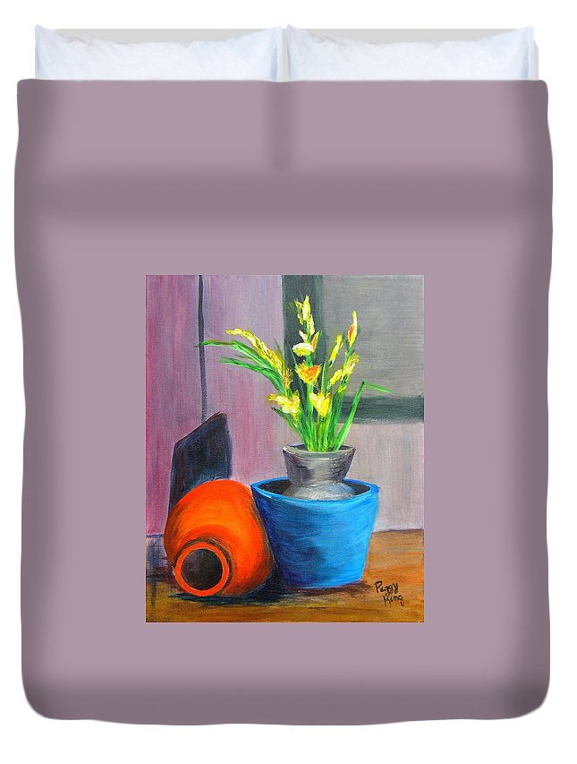Abstract Duvet Cover featuring the painting Clay Display by Peggy King