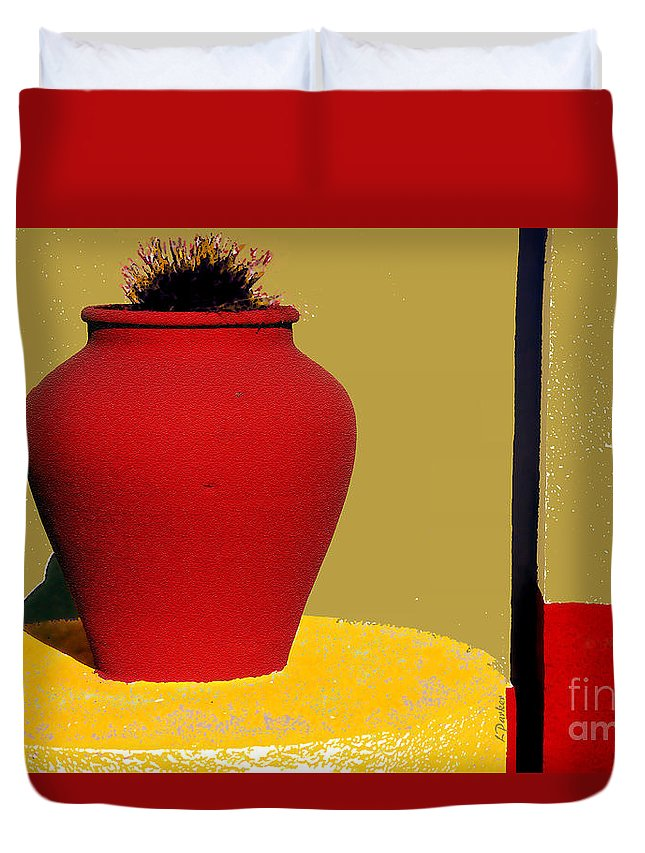 Red Duvet Cover featuring the photograph Clay Pot In Red by Linda Parker