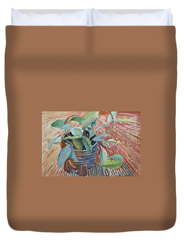 Vine Duvet Cover featuring the painting Clay Pot by Ruth Kamenev