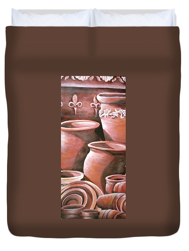 Clay Pots Duvet Cover featuring the painting Clay Pots by Melissa Wiater Chaney