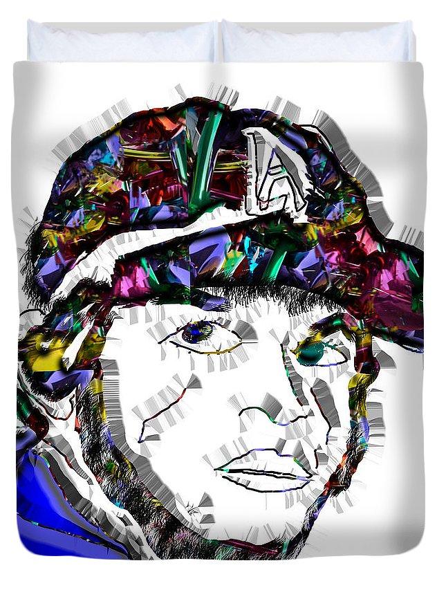 Pop Art Duvet Cover featuring the digital art Clayton Kershaw La Dodger by Dalon Ryan