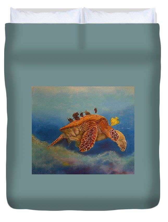 Turtle Duvet Cover featuring the painting Cleaning Station by Ceci Watson