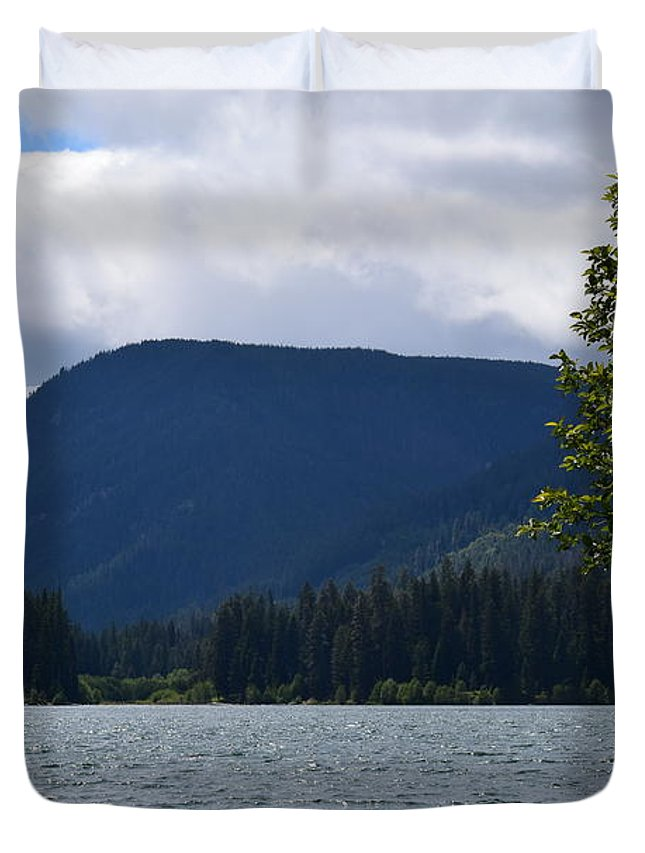 Landscape Duvet Cover featuring the photograph Clear Lake View by LKB Art and Photography