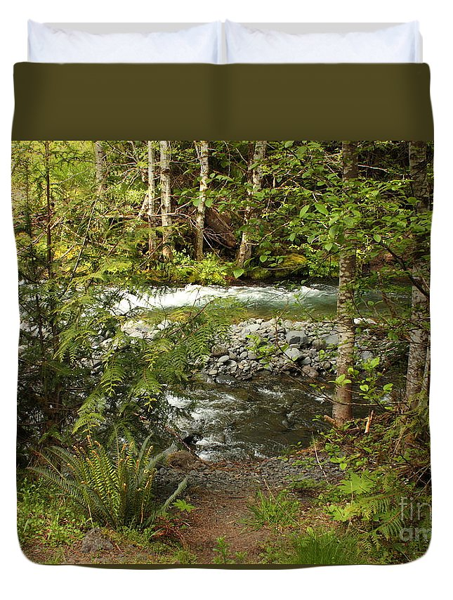 Mountain Duvet Cover featuring the photograph Clear Mountain Stream by Carol Groenen