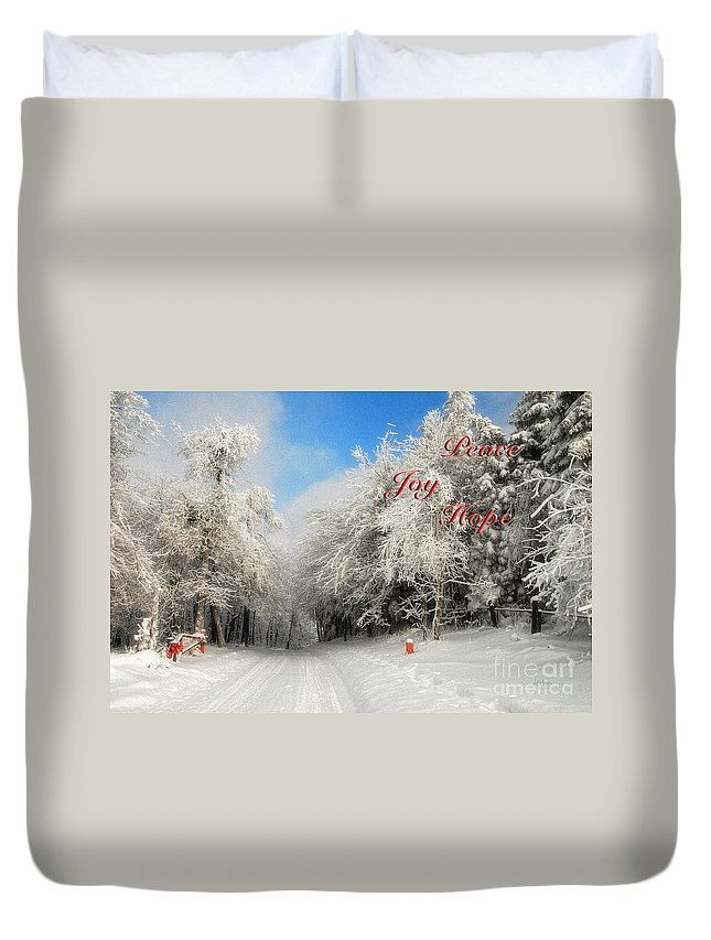 Christmas Duvet Cover featuring the photograph Clearing Skies Christmas Card by Lois Bryan