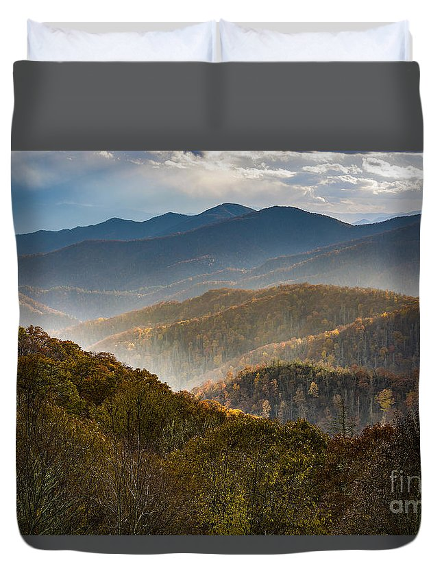 Appalachian Duvet Cover featuring the photograph Clearing Storm At Webb Overlook by John MacLean
