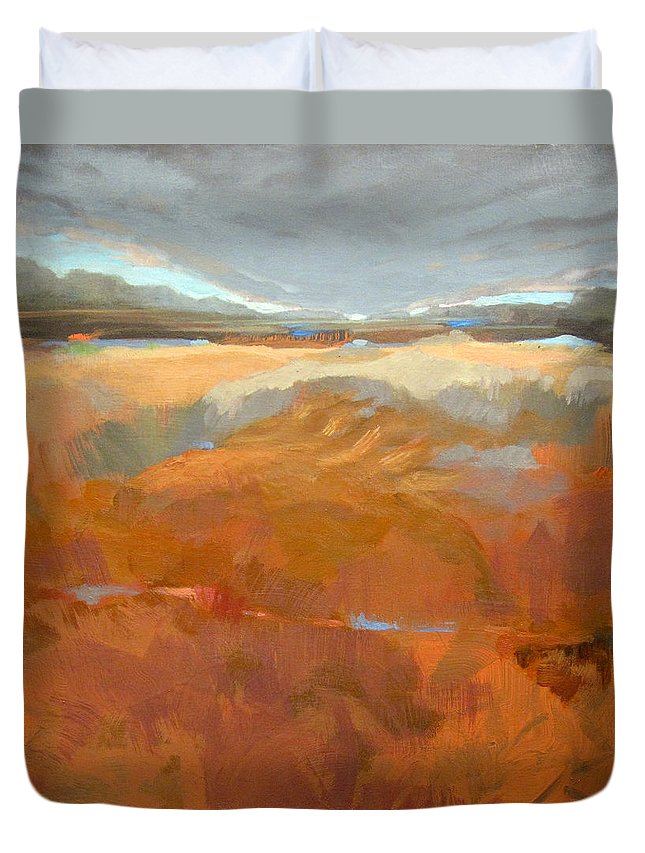 Landscape Duvet Cover featuring the painting Clearly, Something Happened Here by Mary Brooking