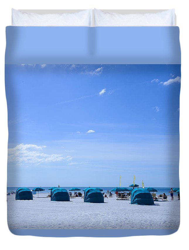 Clearwater Duvet Cover featuring the photograph Clearwater Beach Florida Shelters by JG Thompson
