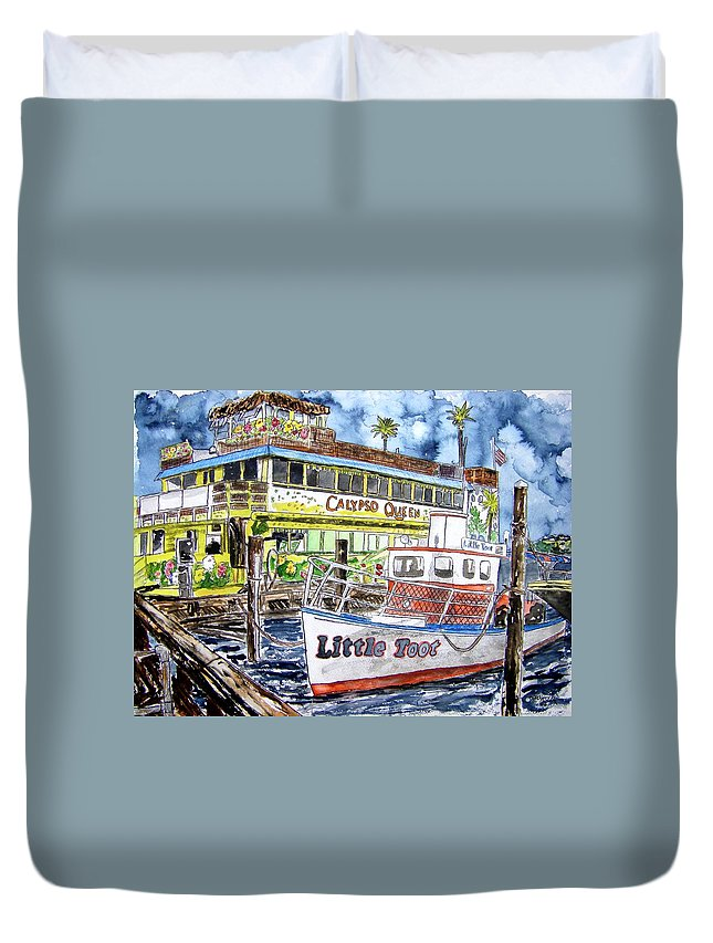 Seascape Duvet Cover featuring the painting Clearwater Florida Boat Painting by Derek Mccrea