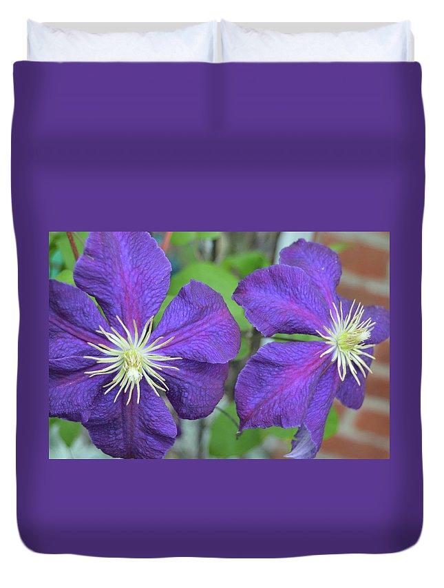 Flower Duvet Cover featuring the photograph Clematis Friends by Karen Sturgill