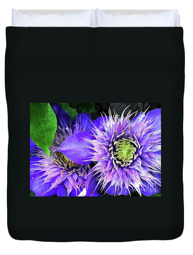 Clematis Duvet Cover featuring the photograph Clematis Multi Blue by Barbie Corbett-Newmin
