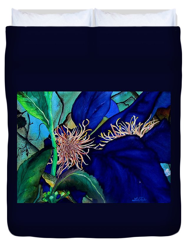 Lil Taylor Duvet Cover featuring the painting Clematis Regal In Purple And Blue Sold by Lil Taylor