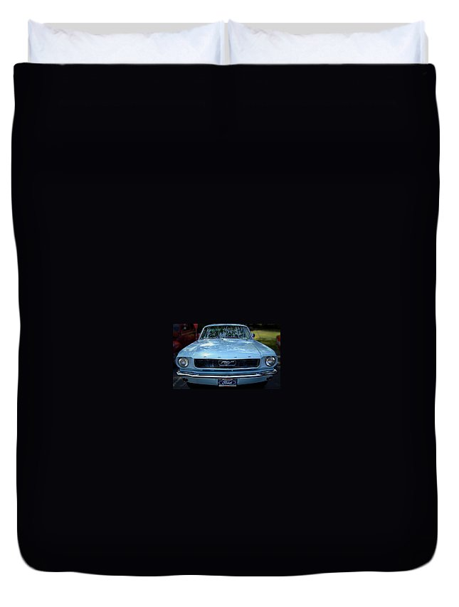 Classic Duvet Cover featuring the photograph Clemson Tigers Ford Mustang by Gary Adkins