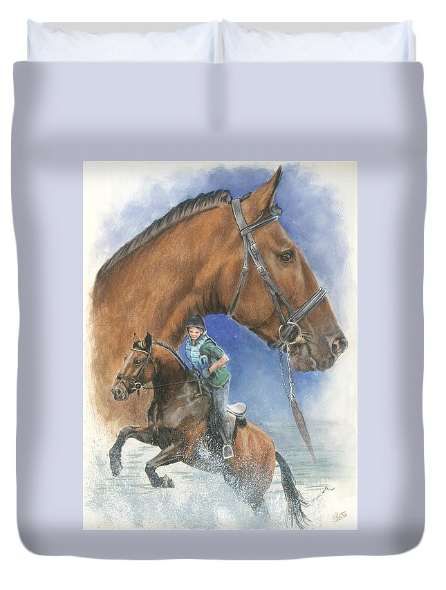Hunter Jumper Duvet Cover featuring the mixed media Cleveland Bay by Barbara Keith