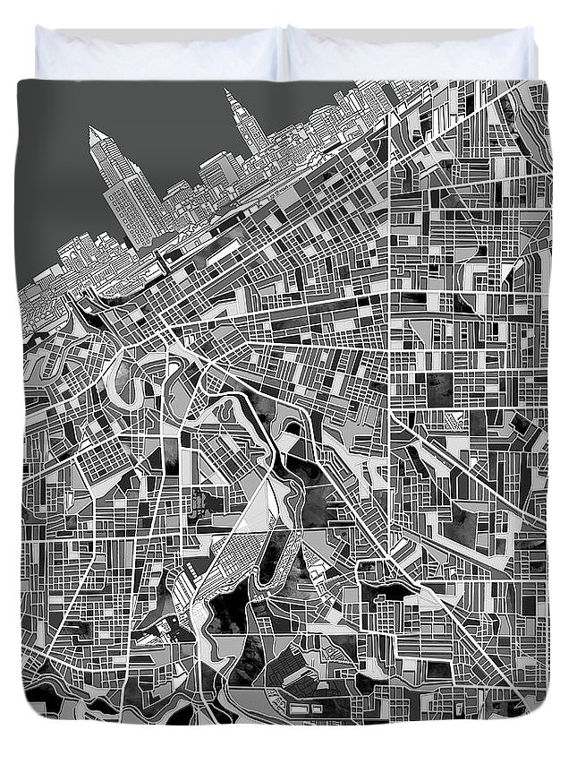 Cleveland Duvet Cover featuring the painting Cleveland Map Black And White by Bekim M