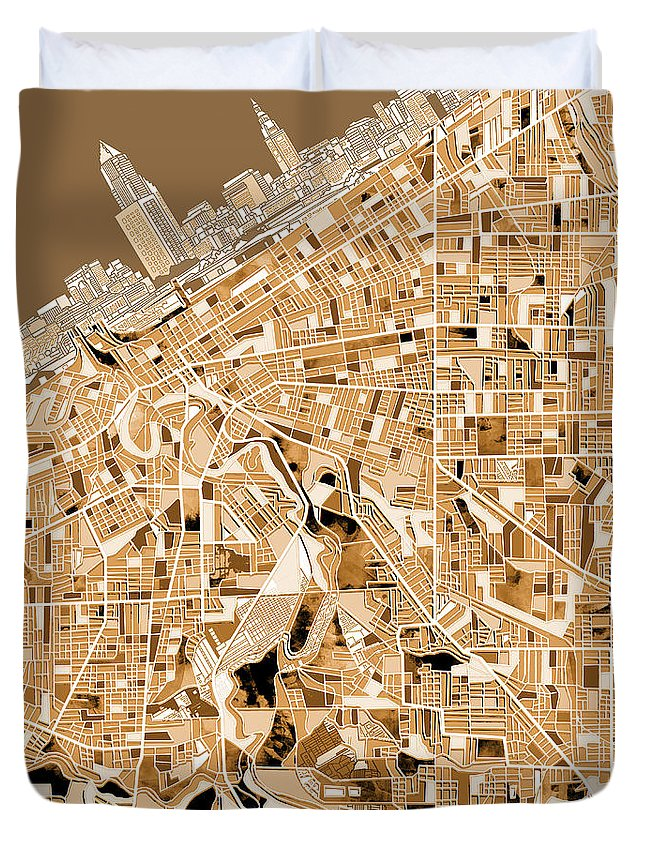 Cleveland Duvet Cover featuring the painting Cleveland Map Sepia by Bekim M