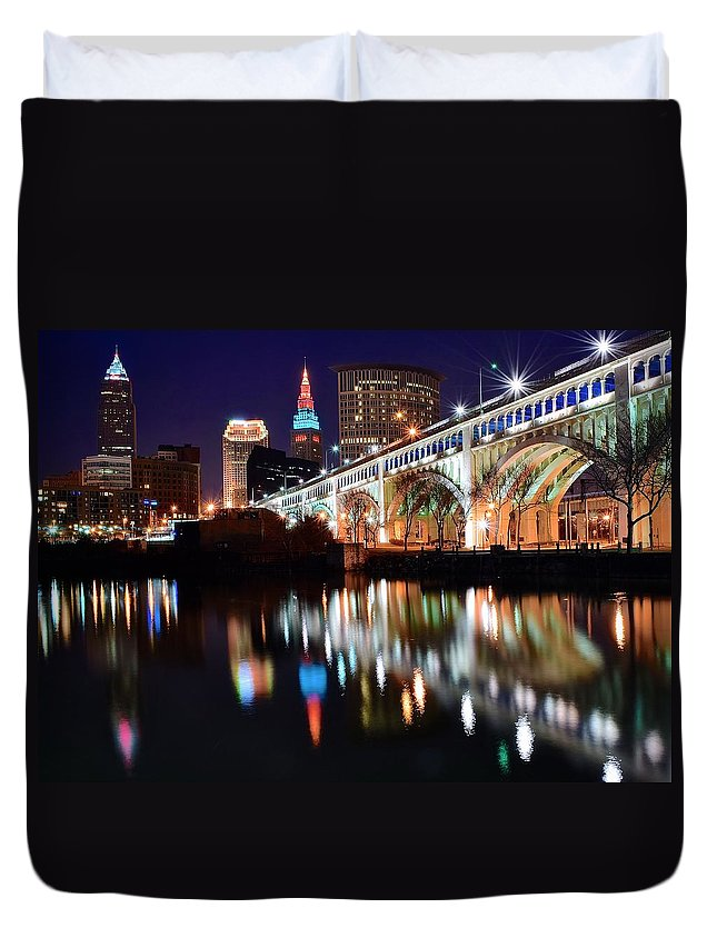 Cleveland Duvet Cover featuring the photograph Cleveland Ohio Skyline by Frozen in Time Fine Art Photography