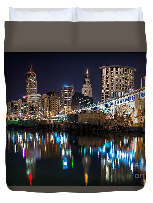 City View Duvet Cover featuring the photograph Cleveland Settlers Landing by Frank Cramer