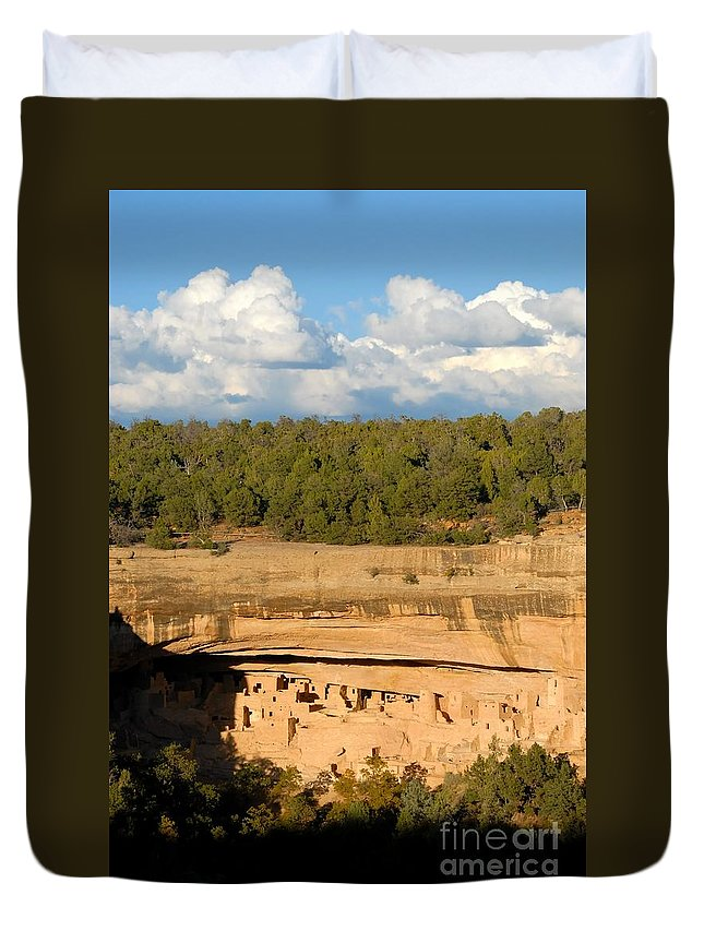 Cliff Palace Duvet Cover featuring the photograph Cliff Palace Landscape by David Lee Thompson