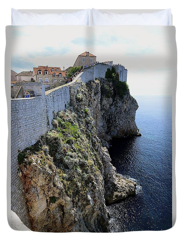 Cliff Duvet Cover featuring the photograph Cliff Top Walls Of Dubrovnik by Clyn Robinson