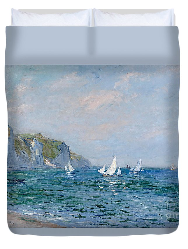 Cliffs And Sailboats At Pourville (oil On Canvas) Impressionism; Impressionist; Seascape; Sea; Ocean; Boat; Sailing; Sail; Yacht; Cliff; Monet Duvet Cover featuring the painting Cliffs and Sailboats at Pourville by Claude Monet