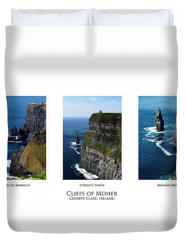 Irish Duvet Cover featuring the photograph Cliffs Of Moher Ireland Triptych by Teresa Mucha