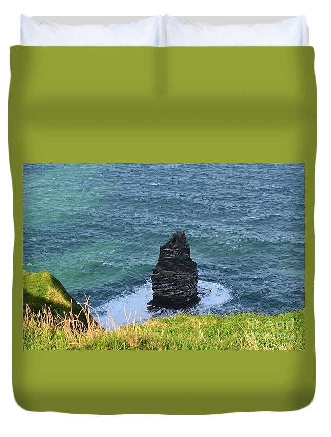 Needle Duvet Cover featuring the photograph Cliff's Of Moher Needle Rock Formation In Ireland by DejaVu Designs
