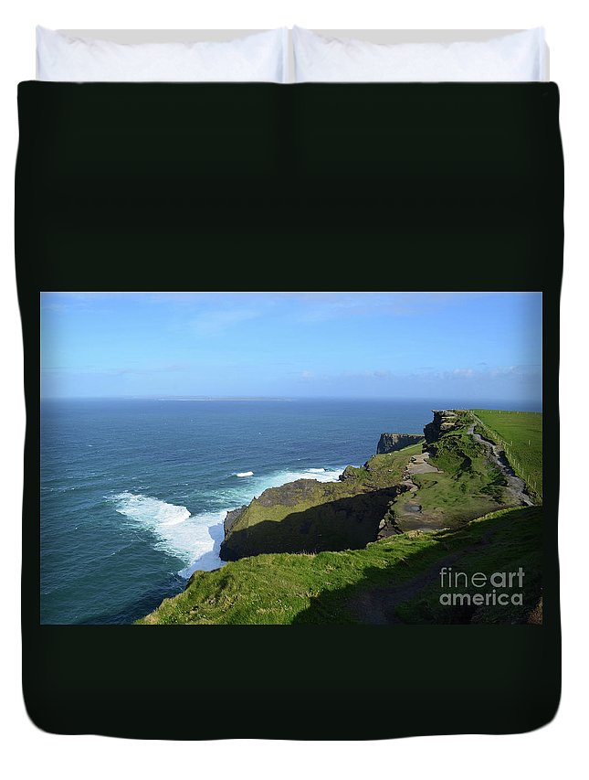 Cliffs-of-moher Duvet Cover featuring the photograph Cliff's Of Moher With White Water At The Base In Ireland by DejaVu Designs