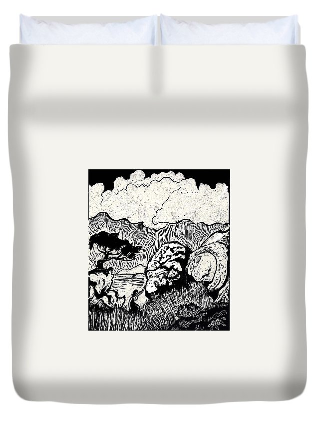 Landscape Duvet Cover featuring the drawing Climbing In The Cedar Breaks by Dawn Senior-Trask