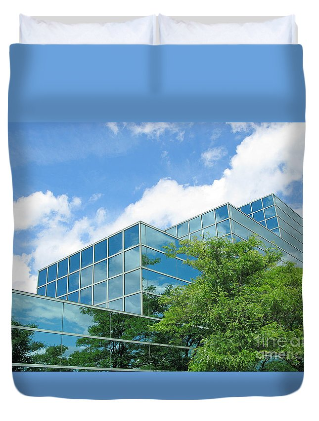 Architecture Duvet Cover featuring the photograph Climbing Skyward by Ann Horn