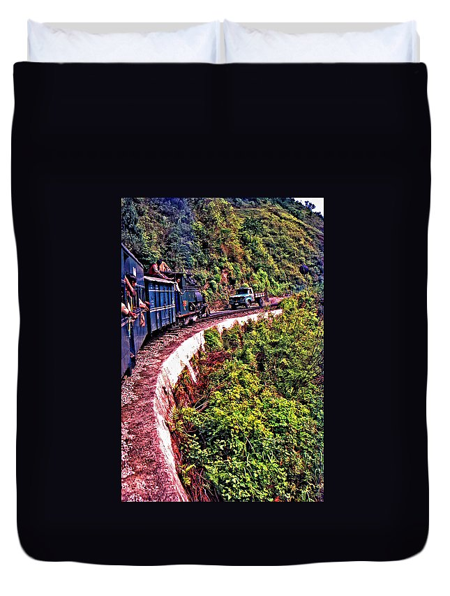 Toy Train Duvet Cover featuring the photograph Climbing The Himalayas by Steve Harrington