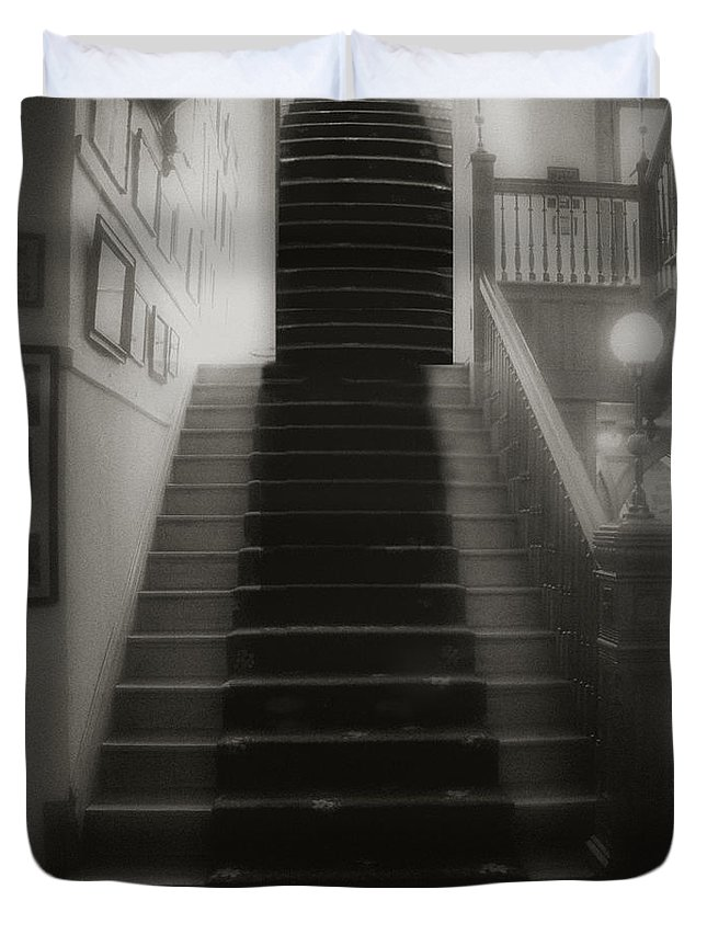 Black And White Duvet Cover featuring the photograph Climbing Toward The Unknown by RC DeWinter