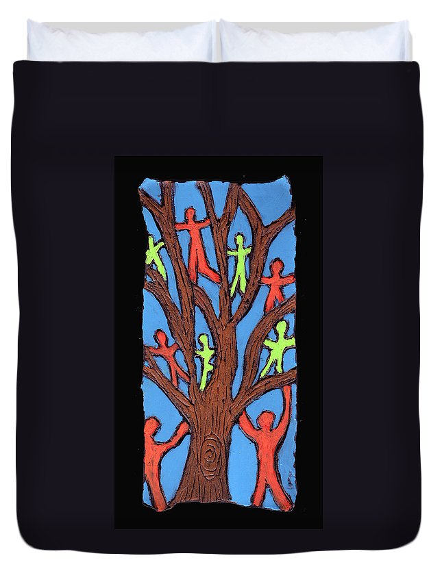 People Duvet Cover featuring the painting Climbing by Wayne Potrafka