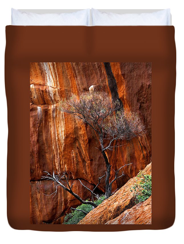 Ularu Duvet Cover featuring the photograph Clinging To Life by Mike Dawson