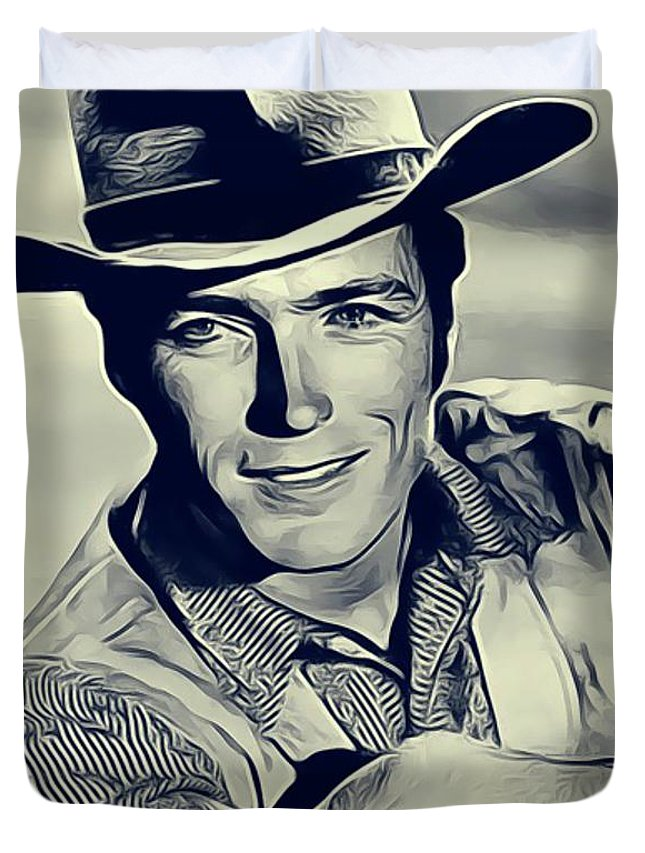 Clint Duvet Cover featuring the digital art Clint Eastwood, Actor/director by John Springfield