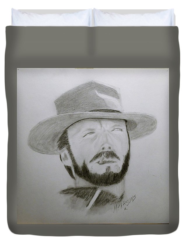 Clint Duvet Cover featuring the drawing Clint by Mike Parsons